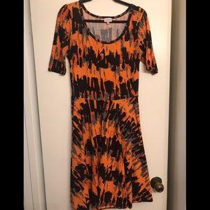 LuLaRoe Nicole Orange Patterned Dress size Large